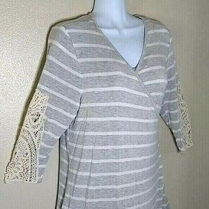 Soft Surroundings dress gray white crochet Large